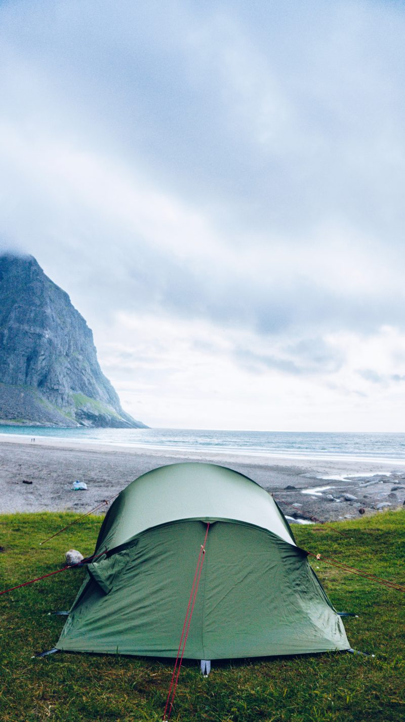 beach camping tip pitch the tent against the wind direction